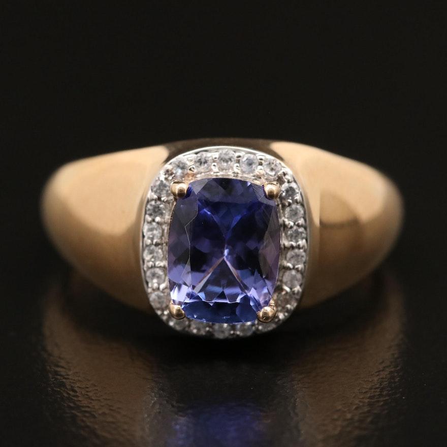 9K Tanzanite and Sapphire Halo Ring