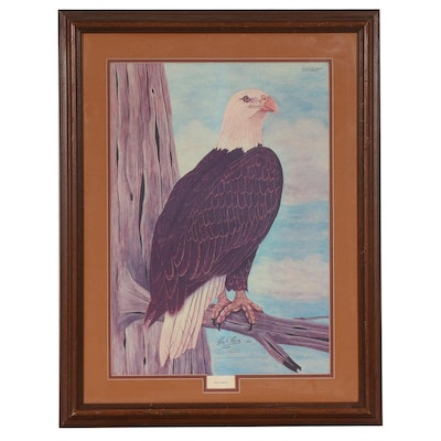 "Roy E. Boone Offset Lithograph ""Bald Eagle,"" circa 1973"