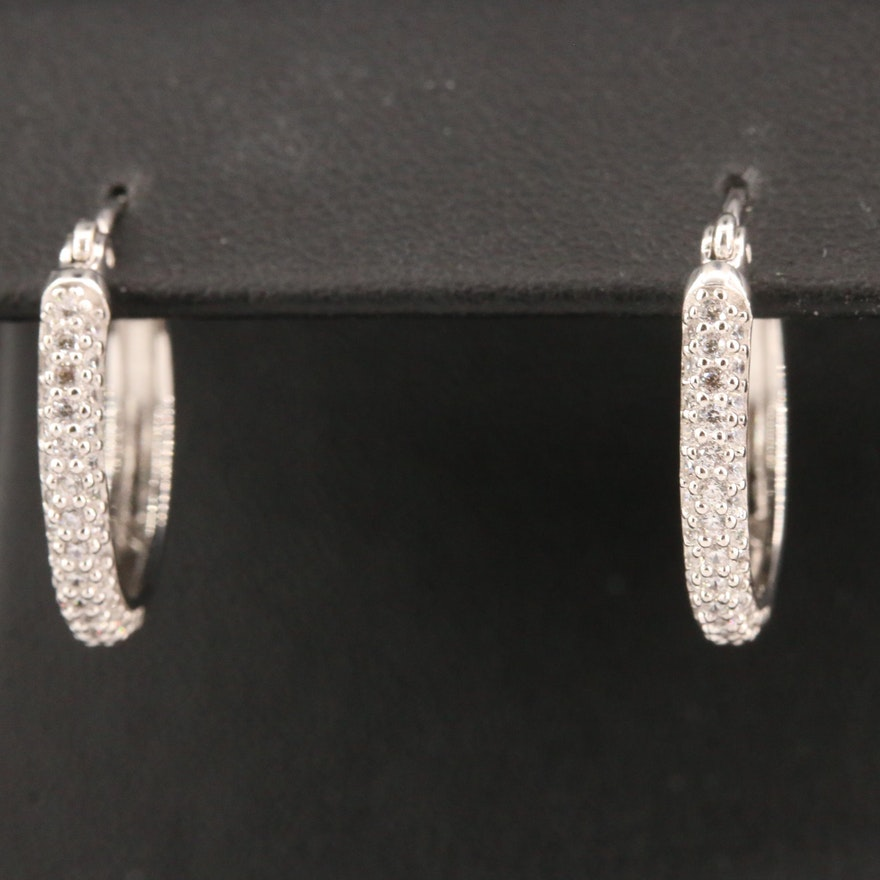 Sterling Cubic Zirconia Hoop Earrings