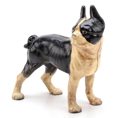 Cold Painted Cast Iron Boston Terrier Door Stop or Coin Bank