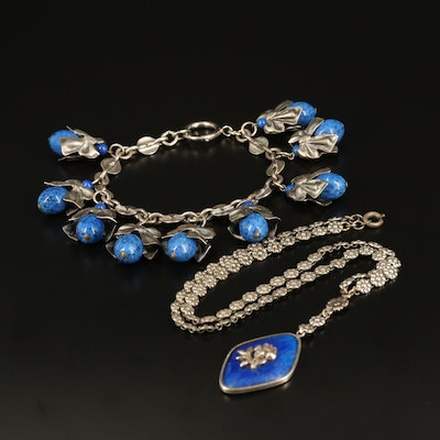 1930s Faux Lapis Lazuli Floral Necklace and Ribbon Bracelet