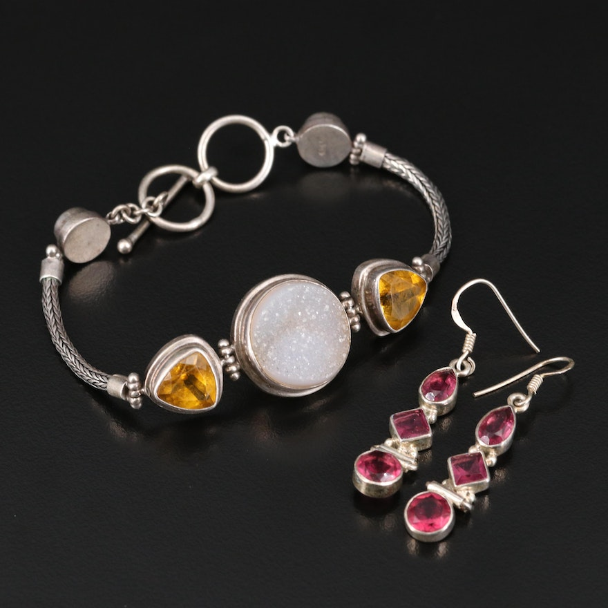 Sterling Silver Jewelry Featuring Citrine, Druzy and Glass