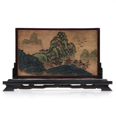 Asian Two Sided Gouache Paintings with Display Stand