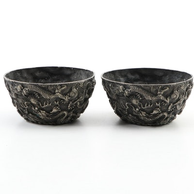 Ming Style Embossed Dragon Motif Metal Bowls