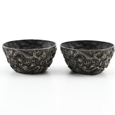 Ming Style Embossed Dragon Motif Metal Bowls