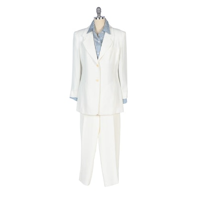 Linda Allard Ellen Tracy Ivory Pantsuit and Blue and White Stripe Silk Shirt