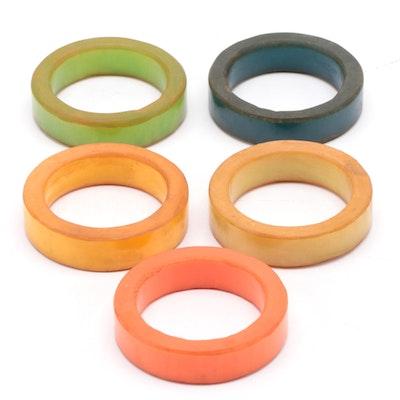 Multi-Colored Bakelite Napkin Rings, 1930s