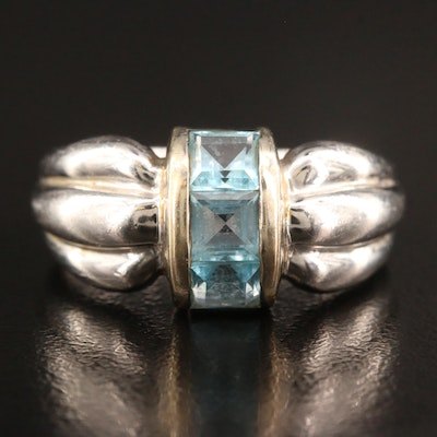 Sterling Topaz Fluted Ring