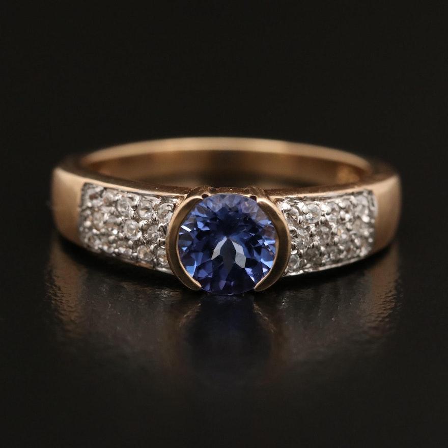9K Tanzanite and Topaz Ring