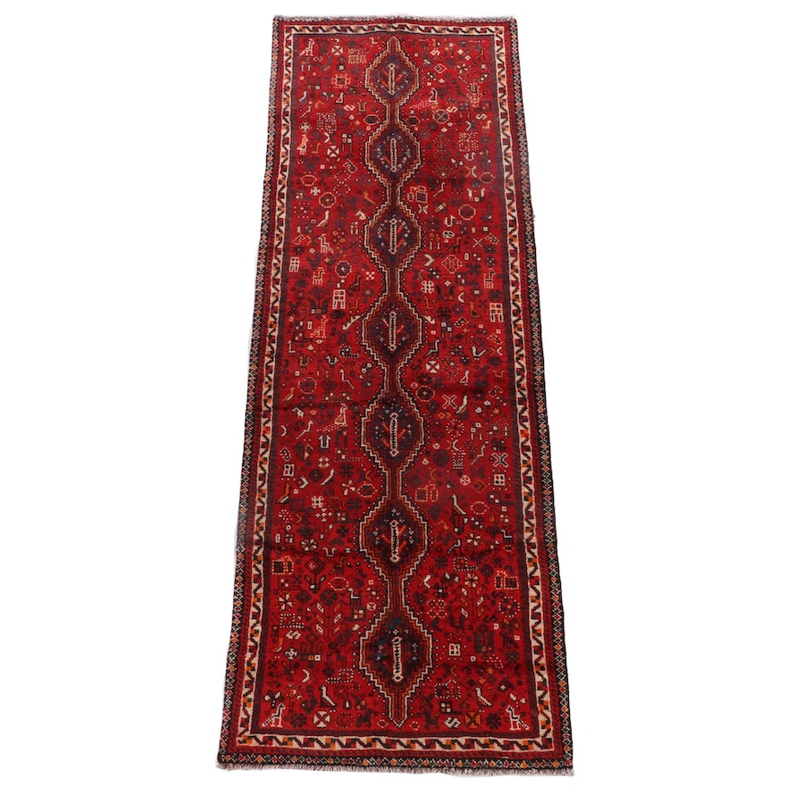 3'4 x 9'5 Hand-Knotted Persian Shiraz Wool Carpet Runner