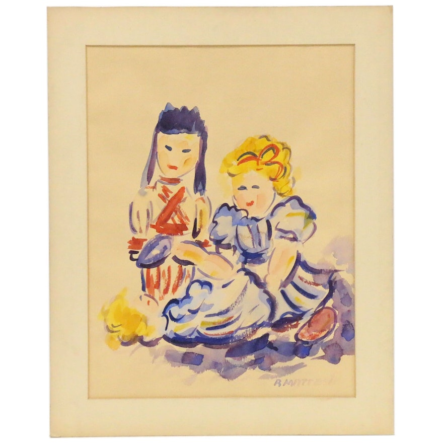 Rudy Mattesich Watercolor Painting of Three Girls, Mid to Late 20th Century
