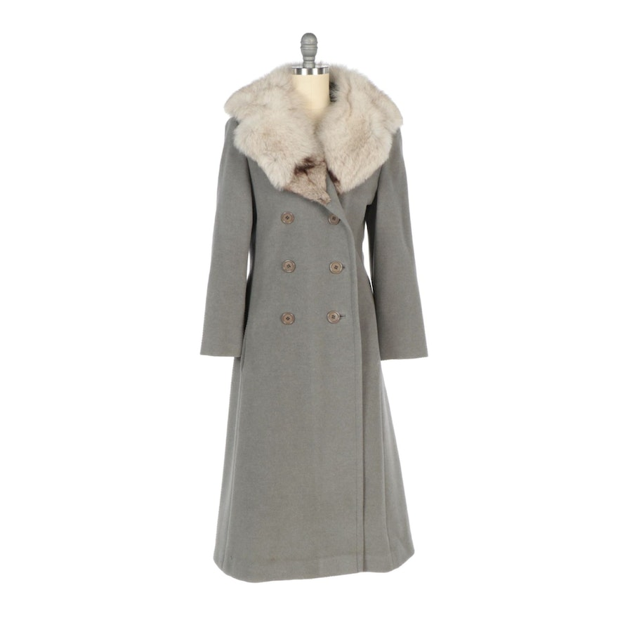 Union Made Wool Double-Breasted Full-Length Coat with Blue Fox Fur Shawl Collar