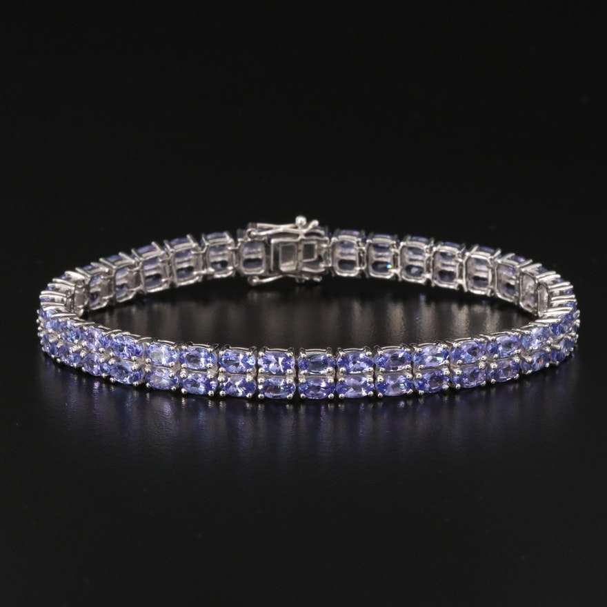 Double Row Tanzanite Bracelet in Sterling