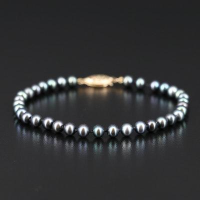 14K Dark Grey Pearl Bracelet