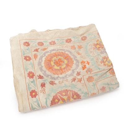Handmade Uzbek Embroidered Silk Suzani, Late 20th Century