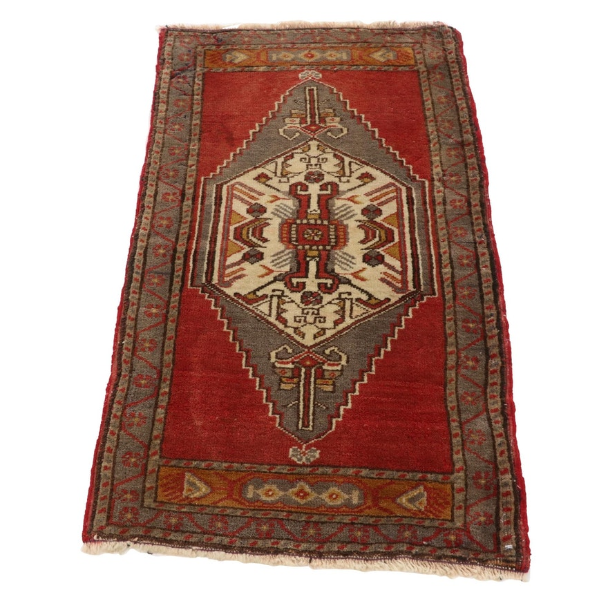 1'11 x 3'7 Hand-Knotted Turkish Village Accent Rug, 1960s