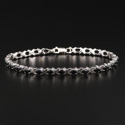 Sterling Silver Corundum Link Bracelet