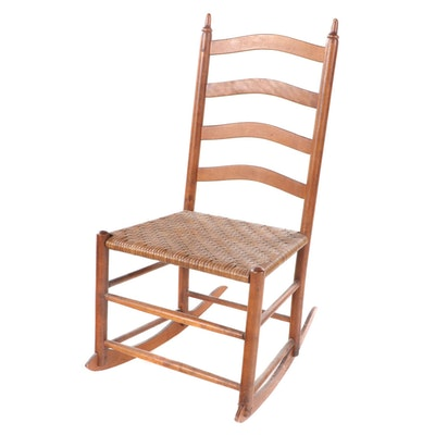 Shaker Style Walnut Frame Rocking Chair with Wicker Seat