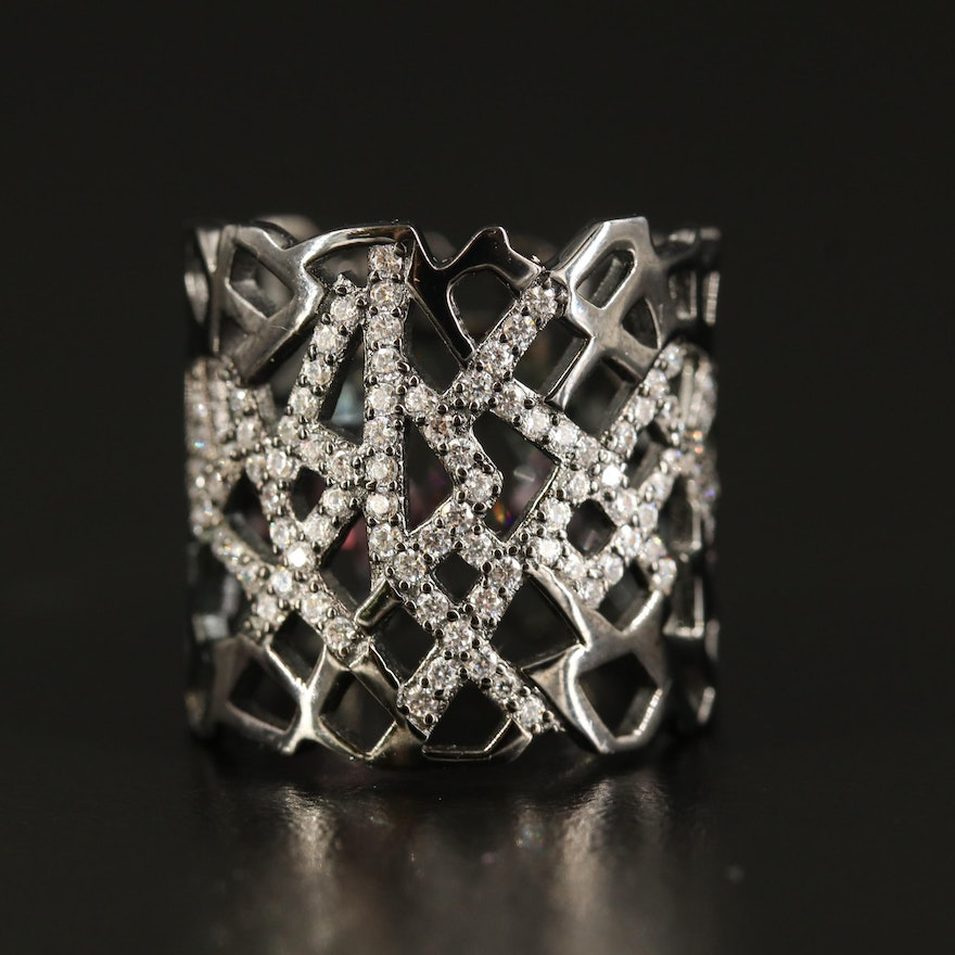 Sterling Cubic Zirconia Openwork Band