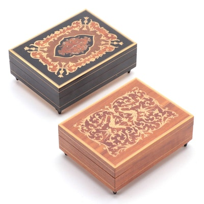 Italian Marquetry Musical Vanity Boxes