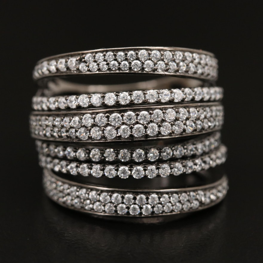 Sterling Cubic Zirconia HInged Trio Band