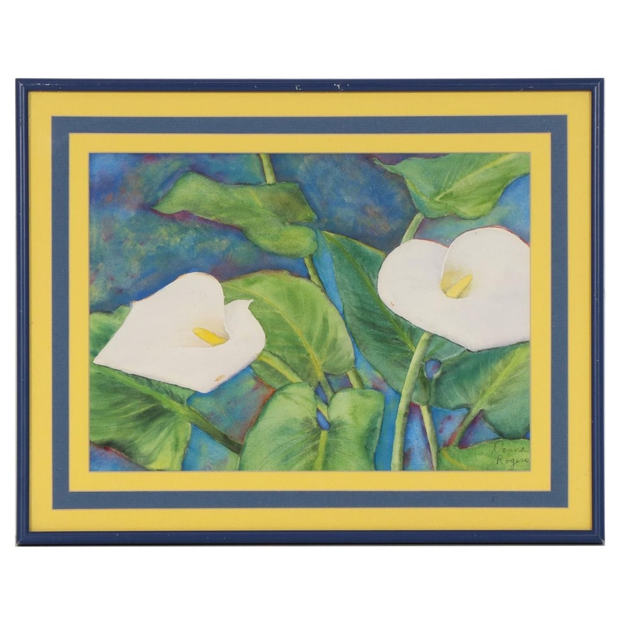 Donna Rogers Watercolor Painting of Calla Lilies
