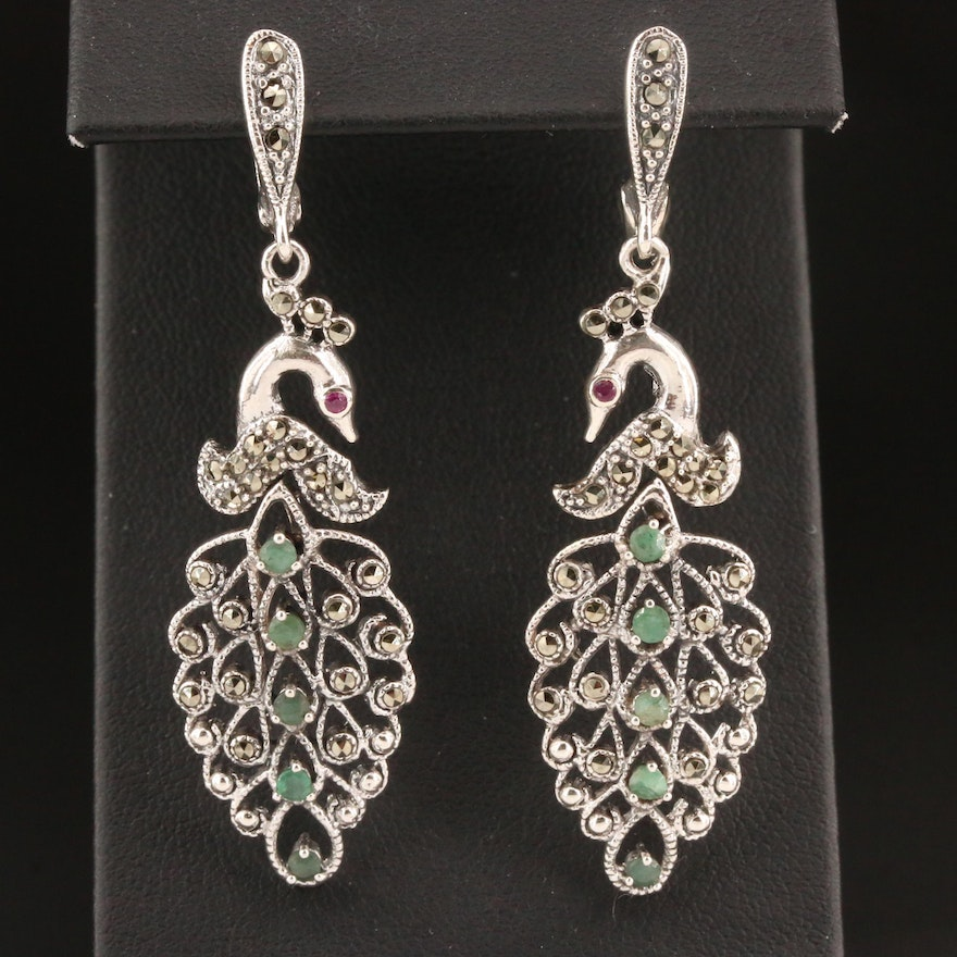 Sterling Emerald and Marcasite Peacock Dangle Earrings