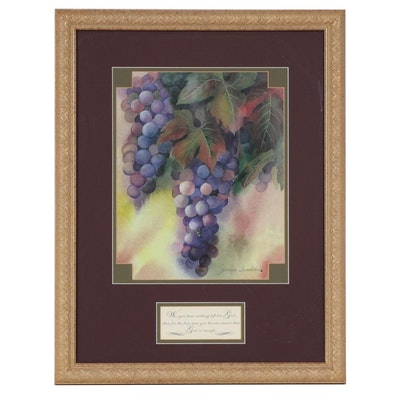 Offset Lithograph after Janice Sumler of Grapes with Inspirational Text