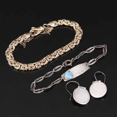 Sterling Silver Bracelets and Disk Earrings