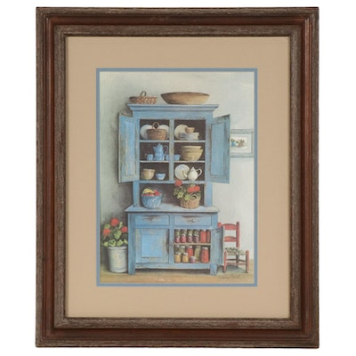 Jeanne Mack Offset Lithograph of Interior Scene with Blue Sideboard