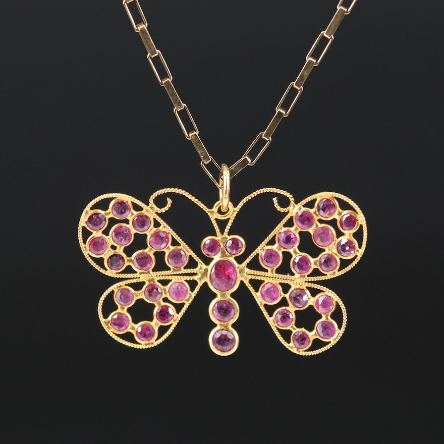 14K Ruby Butterfly Pendant with Sterling Silver Chain