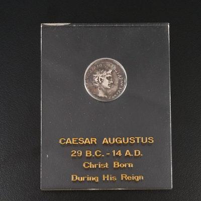 Ancient Roman Imperial AR Denarius of Caesar Augustus, ca. 29 B.C.