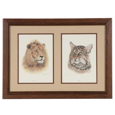 "Offset Lithographs after Charles Fracé ""African Lion"" and ""Bobcat,"" circa 1982"