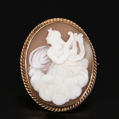 Victorian Terpsichore Shell Cameo Brooch