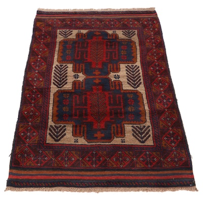 3' x 5' Hand-Knotted Afghan Turkmen Accent Rug, 2000s