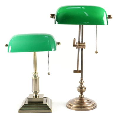 Adjustable Cantilever Height and Standard Bankers Lamps