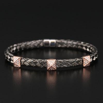 Sterling Silver Cubic Zirconia Woven Bracelet