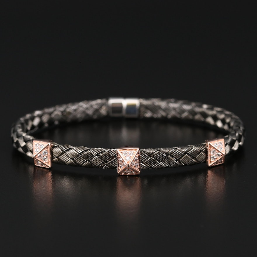 Sterling Silver Woven Bracelet Cubic with Zirconia Accents
