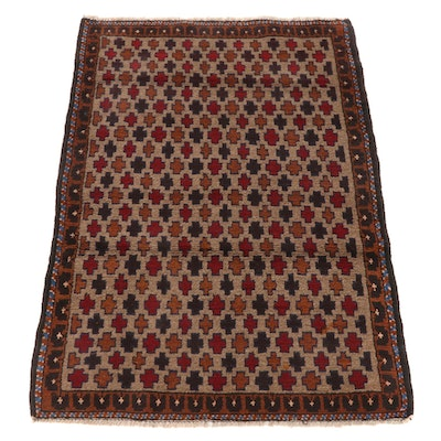 2'10 x 4'3 Hand-Knotted Afghan East Turkmen Accent Rug, 2000s