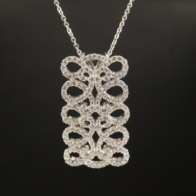 Sterling Cubic Zirconia Openwork Rectangle Pendant Necklace