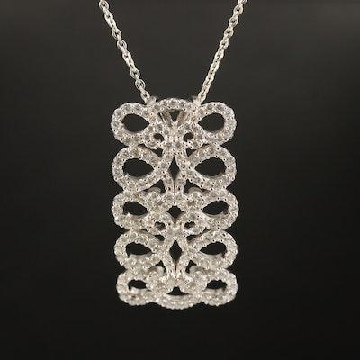 Sterling Cubic Zirconia Openwork Rectangle Pendant Necklace