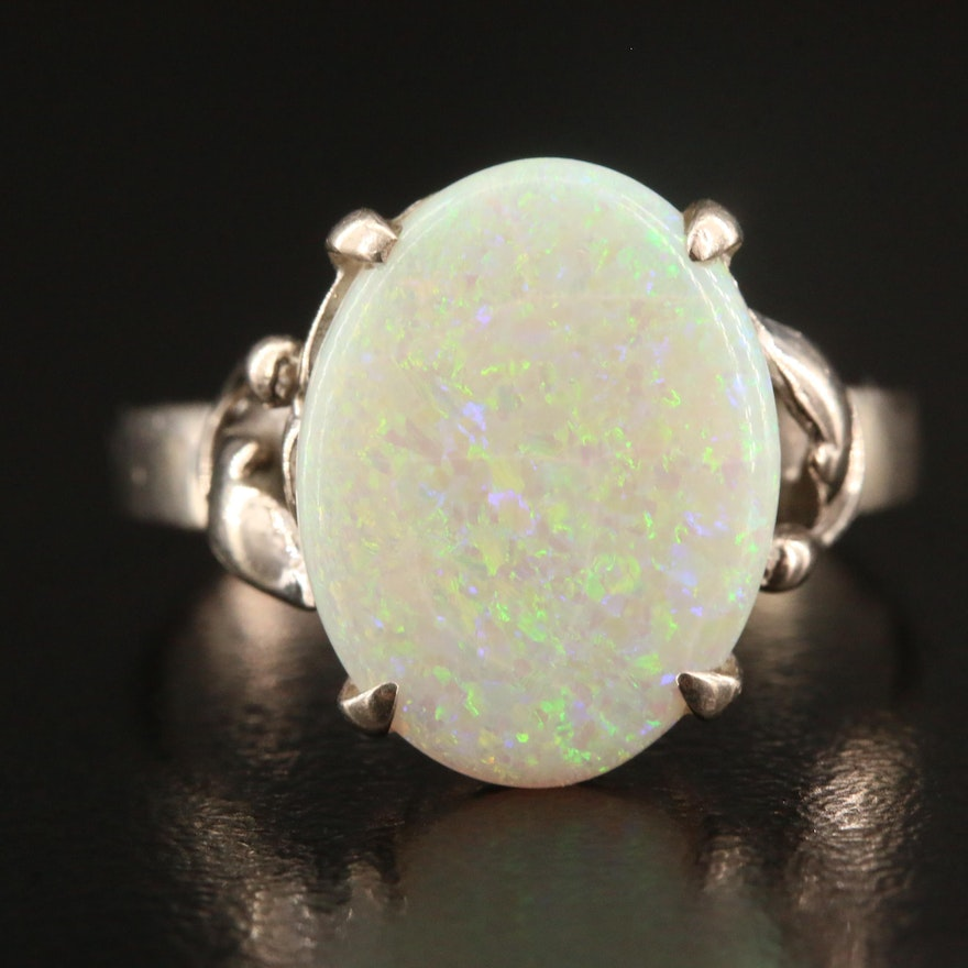 Sterling Opal Solitaire Ring