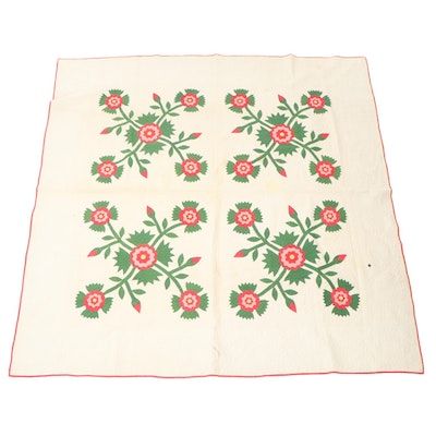 """Handmade """"Tea Rose"""" Floral Appliqué Quilt, Early to Mid 20th Century"""
