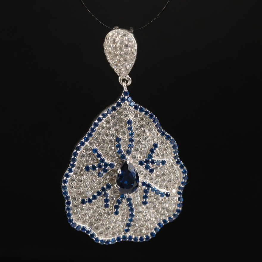 Sterling Spinel and Cubic Zirconia Pendant