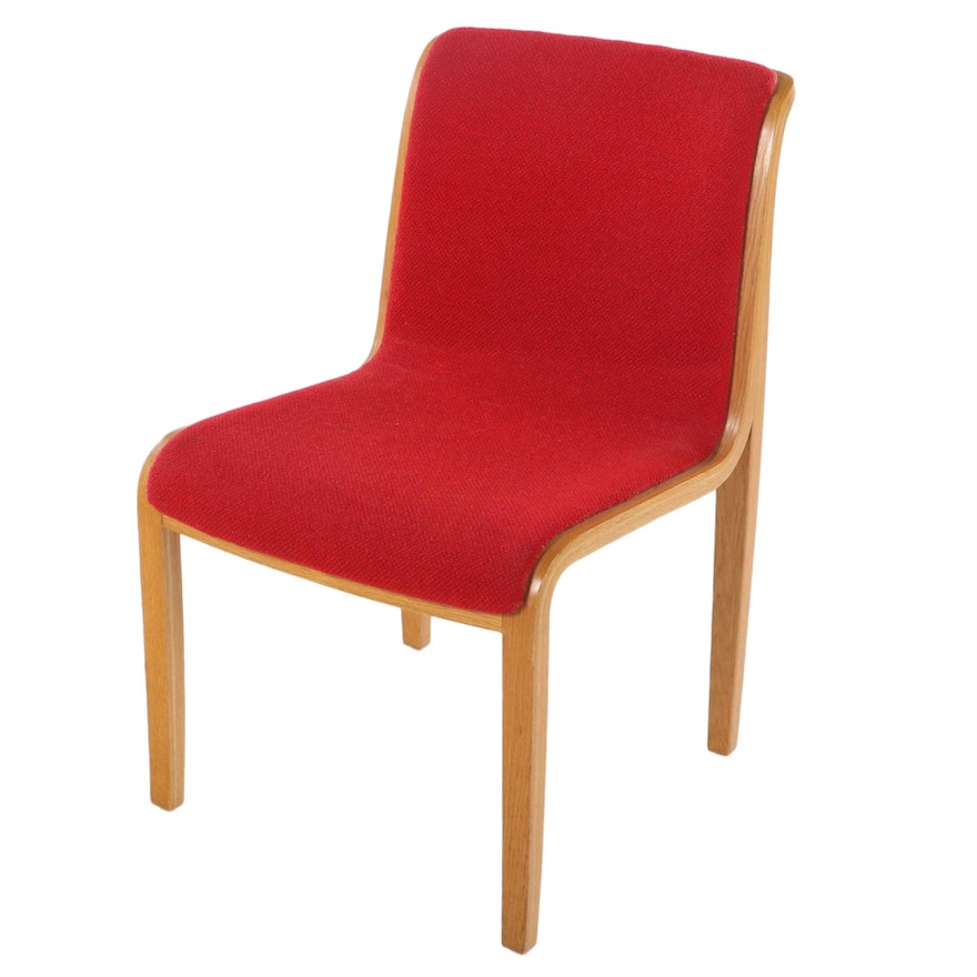 Bill Stephens for Knoll Modernist Laminated Oak and Red Wool Side Chair