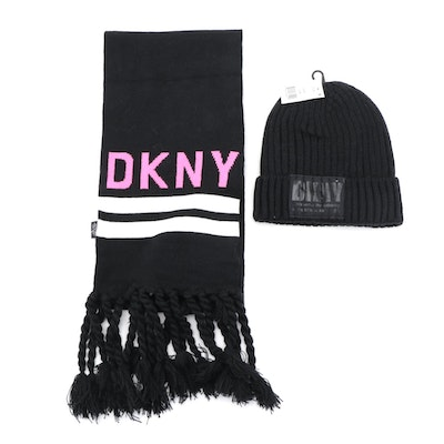 DKNY Black Knit Beanie and Striped Fringed Scarf