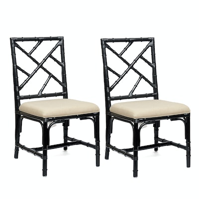 Pair of Pier I Ebonized Bamboo Side Chairs With Upholstered Seats