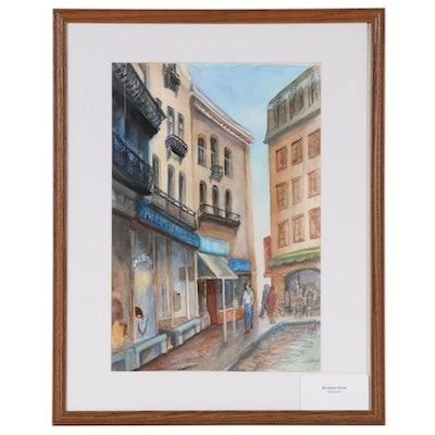 "Joan Fistick Watercolor Painting ""Brussels Street"""