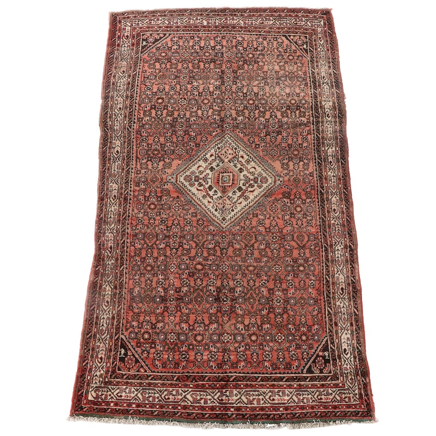 5'3 x 9'6 Hand-Knotted Persian Hamadan Wool Rug