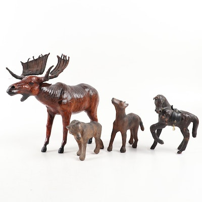 Leather Wrapped Moose, Pony and Wolf Figurines